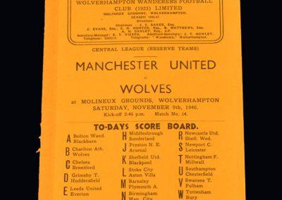 Man Utd Reserves v Wolves Reserves 09.11.1946