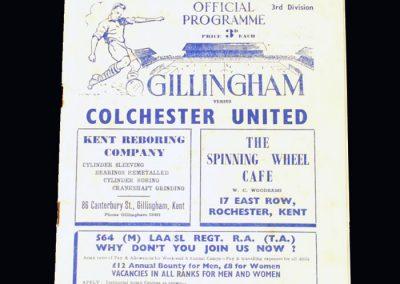 Gillingham v Colchester 19.08.1950 (1st game back in the league)