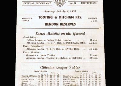 Tooting & Mitcham Reserves v Hendon Reserves 02.04.1955