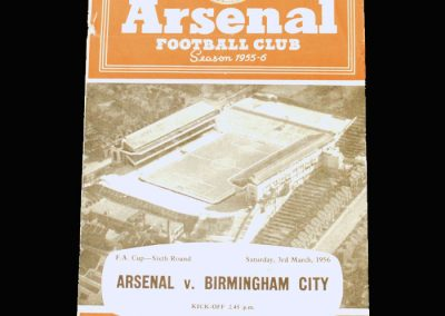 Arsenal v Birmingham 03.03.1956 - FA Cup 6th Round