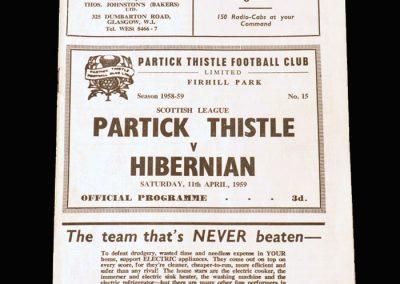 Partick Thistle v Hibernian 11.04.1959