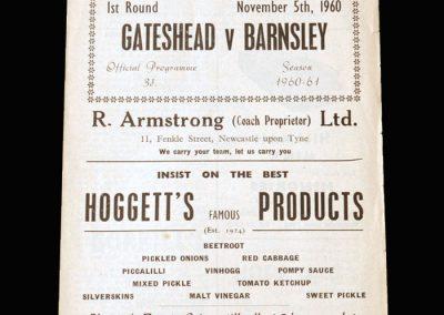 Gateshead v Barnsley 05.11.1960 - FA Cup 1st Round