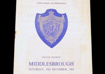 Huddersfield Town v Middlesbrough 19.12.1964 | Postponed