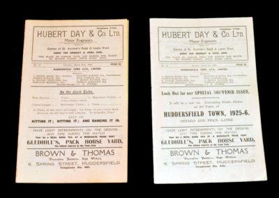 Huddersfield Reserves v Oldham 20.03.1926 Huddersfield Reserves v Blackburn 05.04.1926