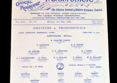 Amateurs v Professionals - Kinnaird Memorial Match - 03.05.1926