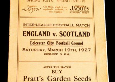English League v Scottish League 19.03.1927