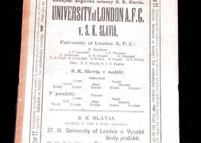 University of London v SK Slavia 24.03.1912