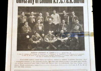 University of London v SK Slavia 25.03.1912