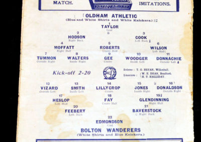 Oldham v Bolton 27.12.1913