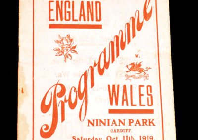 Wales v England 11.10.1919 Patsy Hendren for England [& 51 Tests as well]