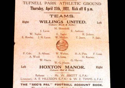 Willings United v Hoxton Manor 27.04.1922