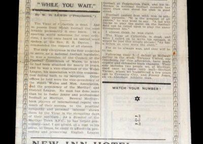Merthyr v Torquay 03.09.1927