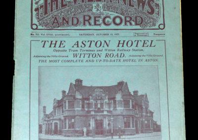 Aston Villa v Sunderland 15.10.1927