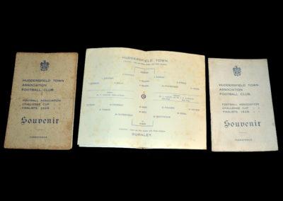 Huddersfield v Burnley 25.04.1928 | Huddersfield v Sheffield United 30.04.1928 | Huddersfield v Portsmouth 05.05.1928 ( Cup Souvenirs )