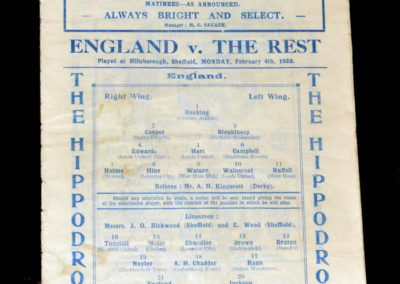 England v The Rest 04.02.1929 (International trial at Sheffield Wednesday)