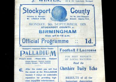 Stockport Reserves v Birmingham Reserves 09.09.1929