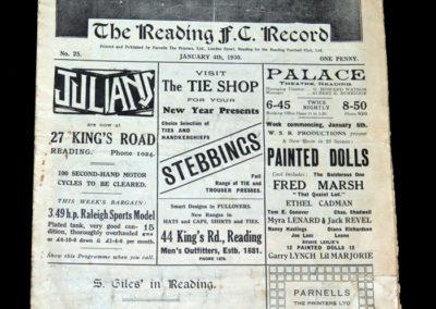 Reading v Bristol City 04.01.1930