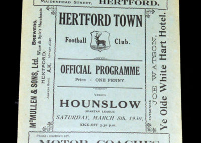 Hertford Town v Hounslow 08.03.1930