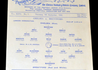 Chelsea Reserves v Brentford Reserves 04.09.1930