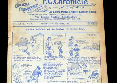 Chelsea v Sheff Wed 15.09.1930 0-0 Jackson debut for Chelsea