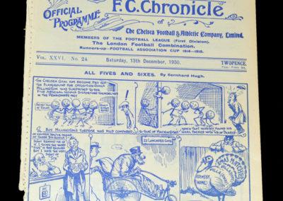Chelsea v Sunderland 13.12.1930