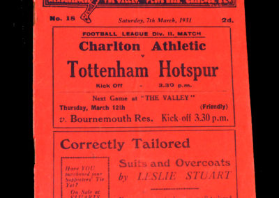 Charlton v Spurs 07.03.1931