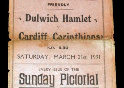 Dulwich v Cardiff Corinthians 21.03.1931