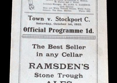 Halifax v Stockport 01.10.1932