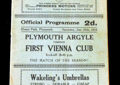 Plymouth v Vienna 28.01.1933
