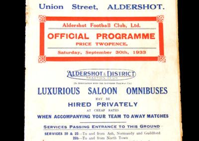 Aldershot v Clapton 30.09.1933