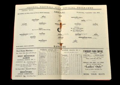Arsenal v Rangers 12.09.1934