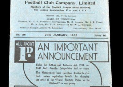 Leicester v Arsenal 26.01.1935