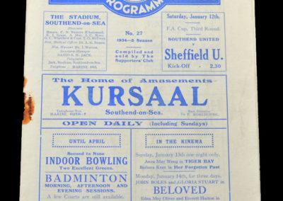 Southend v Sheffield Utd 12.01.1935