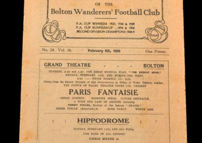 Bolton v Sheffield Utd 09.02.1935