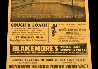 Wolves v Sunderland 06.03.1937