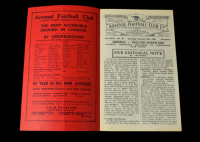 Arsenal v Preston 12.02.1938 5th Round 0-1