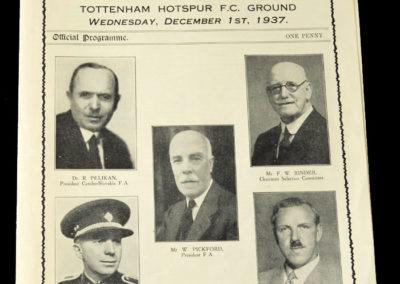 England v Czechoslovakia 01.12.1937