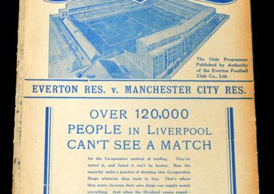Everton Reserves v Man City 30.08.1937