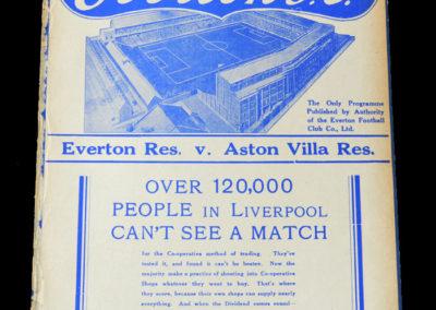 Everton Reserves v Aston Villa 15.09.1937