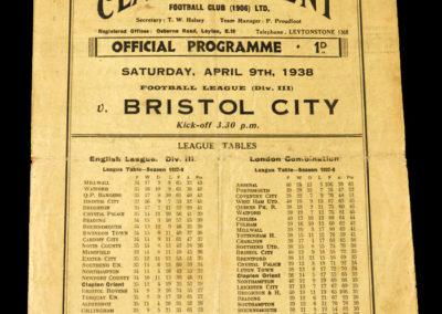 Clapton v Bristol City 09.04.1938