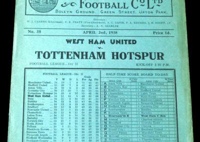 Spurs v West Ham 02.04.1938