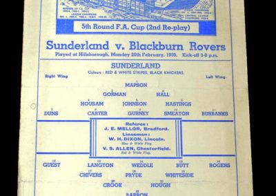 Sunderland v Blackburn 20.02.1939 5th rd 2nd rep 0-1