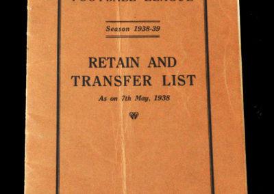 Retain & Transfer List 1938/39