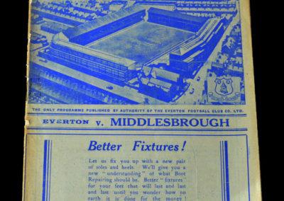 Everton v Middlesbrough 05.11.1938