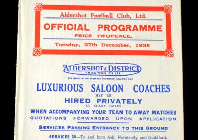 Aldershot v Palace 27.12.1938