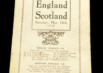 England v Scotland Schools 13.05.1922