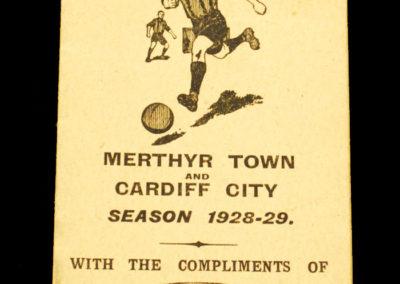 Merthyr Town & Cardiff City Fixture Card 1928/29