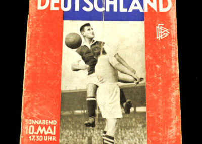 Germany v England 10.05.1930 3-3 Richard Hofmann scored all 3 for the Germans, lost an ear, was banned for professionalism but was still playing for Dresden in the 40s