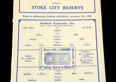 Sheff Wed Reserves v Stoke Reserves 17.12.1932