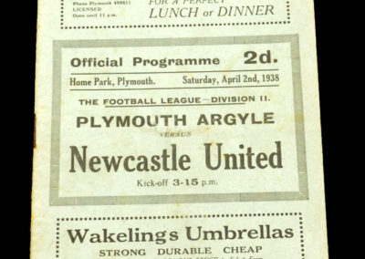 Plymouth v Newcastle 02.04.1938